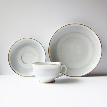 Upsala Ekeby Karlskrona Tea Set - Swedish Modern Cup Saucer And Plate - Vintage Scandinavian Porcelain - Sweden KP Fine China Dove Gray