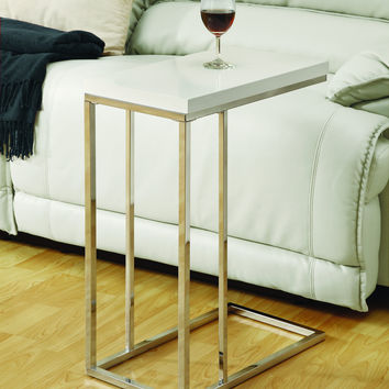 Glossy White Hollow-Core / Chrome Metal Accent Table