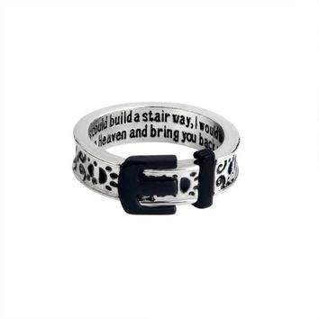 If tears could build a stairway, I would walk right up to Heaven Belt Buckle Dog paw prints Ring for Men Girl Pet Animal Jewelry