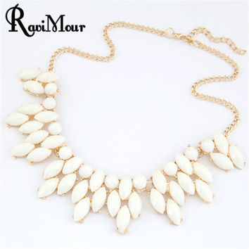 Fine Jewelry  Maxi Collares Choker Statement Necklaces & Pendants Imitated Gemstone Collier Femme for Women Accessories