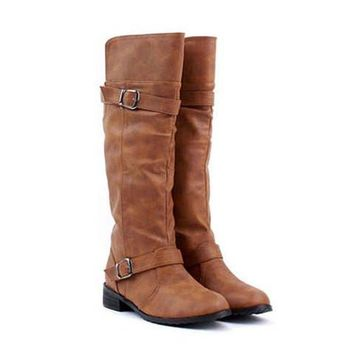 Brown Low Heel Design Boots With Buckle