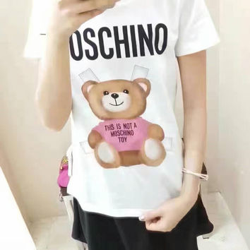 Moschino Bear Print Round Collar Short Sleeve T-Shirt