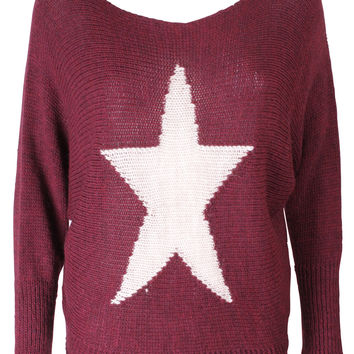 Burgundy Red Star Jumper