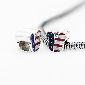 American flag Alloy bead charm bracelet beaded 5mm Big hole Beads United States banner beads fit Charm bracelet necklace diy