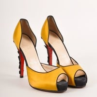 ONETOW Yellow and Black Satin D  Orsay  Sevillana  Pumps