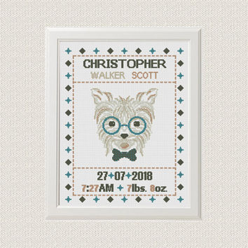 Dog Birth announcement baby sampler Cross stitch animal cross stitch pattern  new baby boy birthday gift nursery decor