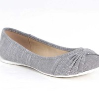 Soda Shoes Ballet Flats in Grey Canvas VOICE-S-GREY