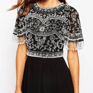 ASOS Beautiful Embellished Maxi Dress With Sequin Fringe Sleeves