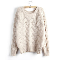 Round-neck Pullover Twisted Sweater Slim Knit Tops Jacket [9176521924]
