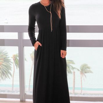 Long Sleeve Black Maxi Dress with Pockets