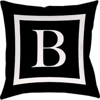 Thumbprintz Classic Block Monogram Decorative Pillow, Black - Walmart.com