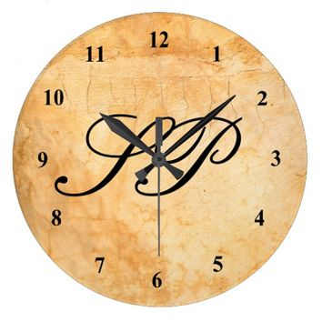 Monogram on an Italian style terracotta brick wall Large Clock