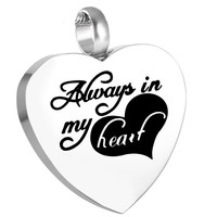 "Cremation ""Always in My Heart II"" Urn Necklace"