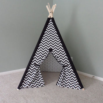Black and White Teepee with matching sleeves tee pee black and white tent play fort