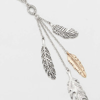 necklace with metal feathers | maurices