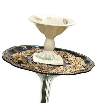 Up-Cycled Garden Art - Bird Feeder With Watering Dish on Top - Garden Decor (#200.14)