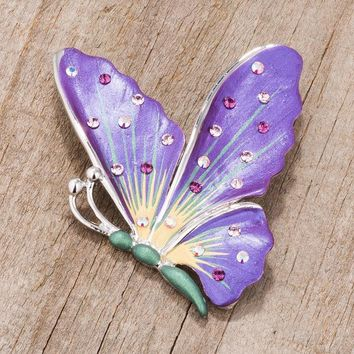 Gold Trim Purple Butterfly Brooch Pin with Crystals