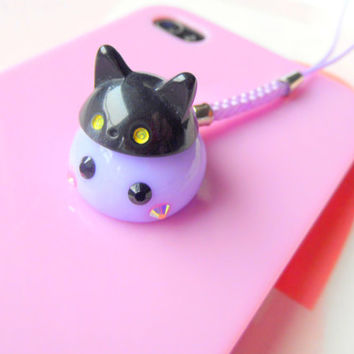 Cat Hat Cosplay Purple Hoppe Chan, Tamagotchi Charm, Kawaii Phone Charm, Cute Dust Plug, Nintendo 3DS, PS Vita, Anime Lovers, Kawaii Animal