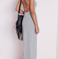 Gray Strappy Back Crisscross Maxi Dress