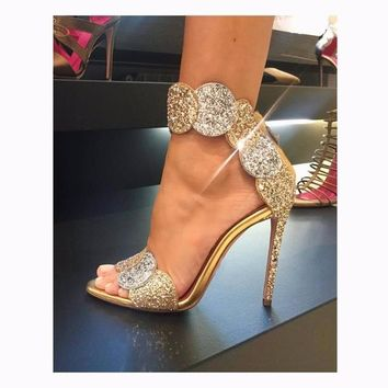 Luxury Gold Bling Crystal Embellished High Heel Pumps Summer Sexy Open Toe Woman Back Zipper Ankle Strap Gladiator Sandals