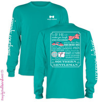 NEW Simply Southern Gentleman Bow Anchor Girlie Bright Long Sleeve T Shirt