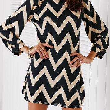 Black and Cream Zig Zag Printed Color Block Long Sleeve Dress