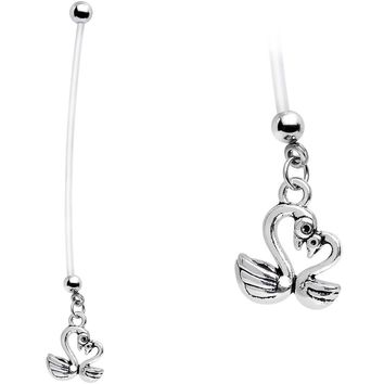 Handcrafted Mother and Baby Swan Heart Pregnancy Belly Ring