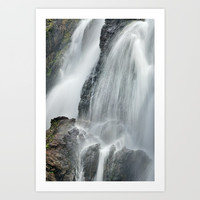 Waterfall in spring at the mountains Art Print by Guido Montañés