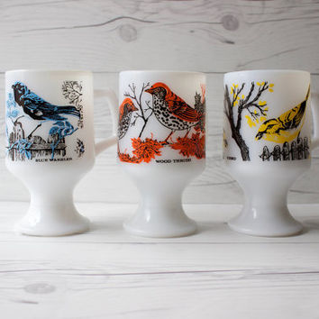 Vintage Set of 3 Mid-Century Milk Glass Footed Pedestal Coffee Mugs with Birds | Vireo, Wood Thrush & Blue Warbler