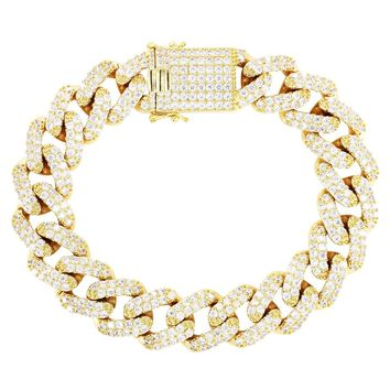 Men's 15mm Iced Out Box Lock Miami Cuban Square Link Bracelet