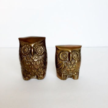 Vintage Brass Owls, Figurines, Statues, Pair
