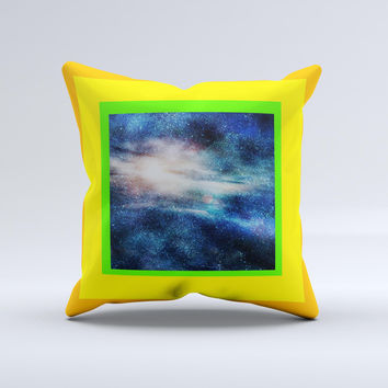 Blue Gold Glowing Star-Wave Ink-Fuzed Decorative Throw Pillow