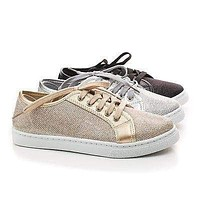 Hope1 By Top Moda, Glitter Mesh fabric Round Toe Lace Up Fashion Flat Sneakers