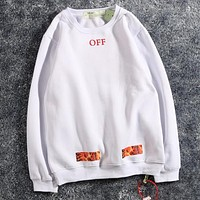 Off White  Women or Men Fashion Casual Loose Sweater Hoodie Pants Trousers Set Two-Piece