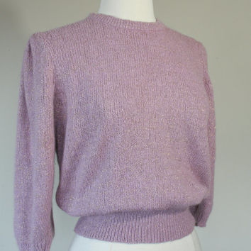 Vintage 80's silk and angora blend pink sweater with metallic gold thread. Medium, Large.