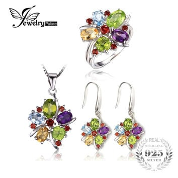 JewelryPalace 10ct Natural Amethyst Citrine Garnet Peridot Blue Topaz Ring Dangle Earrings Pendant Necklace 925 Sterling Silver