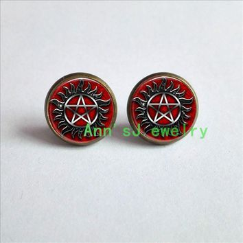 HZ4-00338 1pair Supernatural stud earrings Protection Symbol Earrings Studs ear nail jewelry glass Cabochon Earrings Post