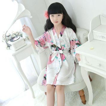 Robe Satin Children summer Kimono Bath Robes Bridesmaid Flower Girl Dress Silk children's bathrobe Nightgown Peacock robe Kids