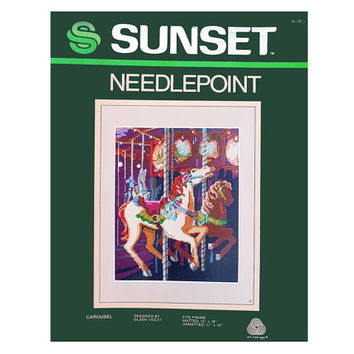 Vintage 80s Needlepoint Kit Sunset Carousel Horses Bright Color Needlepoint Yarn Canvas Chart Included Copyright 1983 Designer Eileen Violet