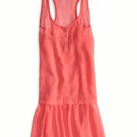 AEO Women's Chiffon Drop Waist Dress (Whipped Strawberry)