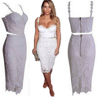 Sexy Lace Bustier Crop Top Skirt Set