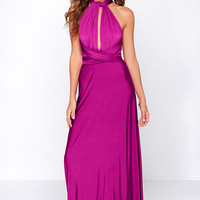 Always Stunning Convertible Magenta Maxi Dress
