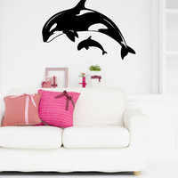 Orca Killer Whale Mom and Baby Calf Vinyl Wall Decal Sticker Graphic
