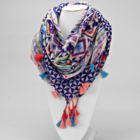 Navy Blue Tassel Drop Chevron Scarf
