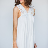 Anita White Crochet V-Neck Lace Dress
