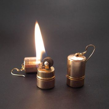Vintage Gold Lighter Earrings - YOU Light Up My Life