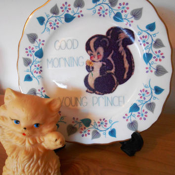 OOAK 'Good Morning Young Prince' Bambi Inspired Flower the Skunk Upcycled China Side Plate-Decorative Midcentury Mod Retro-Floral Royal Vale
