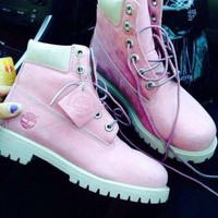 2018 Original Timberland Rhubarb boots for men and women shoes waterproof Martin boots lovers Pink-white pink soles