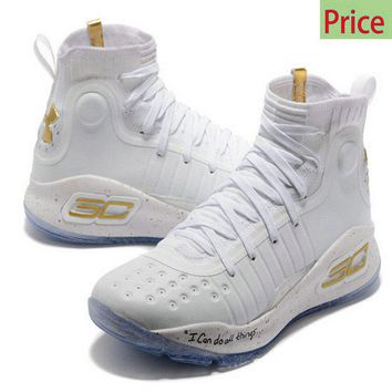 Legit Cheap 2018 Mens Stephen Under Armour Curry 4 Mid Basketball Shoes White Gold Ice Blue sneaker