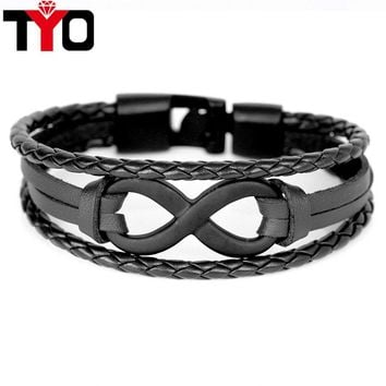 TYO Brand Vintage Symbol Infinity Charm Bracelet Bangle Classic Buckle friendship Genuine Leather Men Women Bracelets
